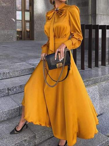 Elegant women fashion plain bowknot long evening dresses