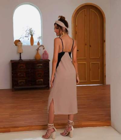 Sexy Gored V neck Vest Maxi Dresses