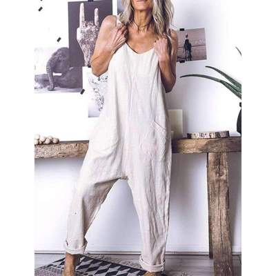 Casual Loose Pure V neck Vest Sleeveless Jumpsuits