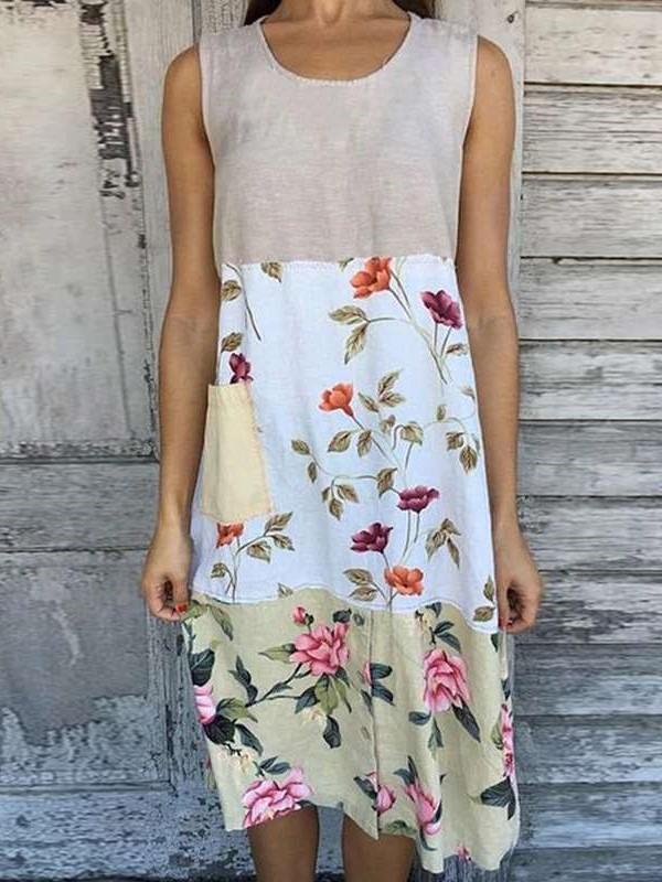 Casual Print Round neck Sleeveless Gored Shift Dresses