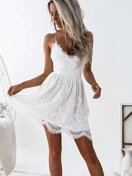 Fashion Cutout Backless Lace Skater Dresses