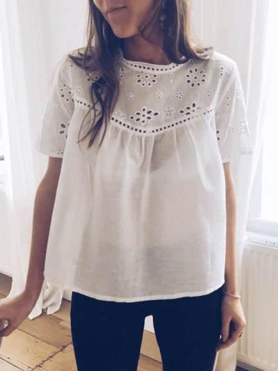White Sweet Cutout Flower Women Casual T-shirts