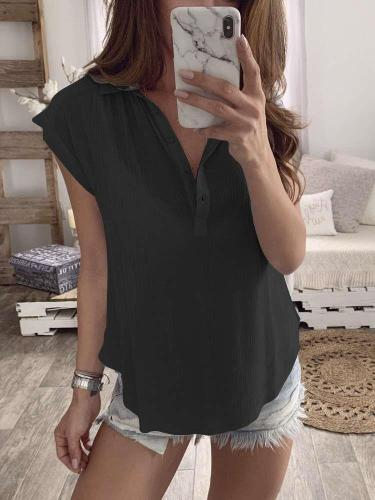 Fashion Casual Pure V neck T-Shirts