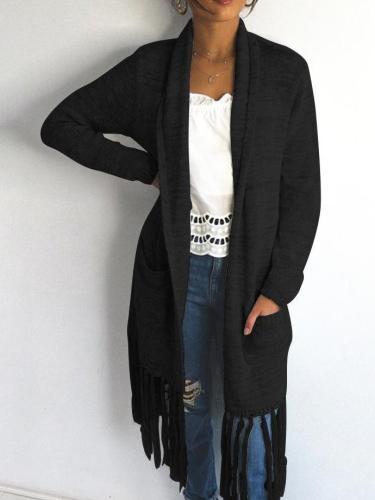 Women  Cardigan Knit Tassels Long sleeve Coats