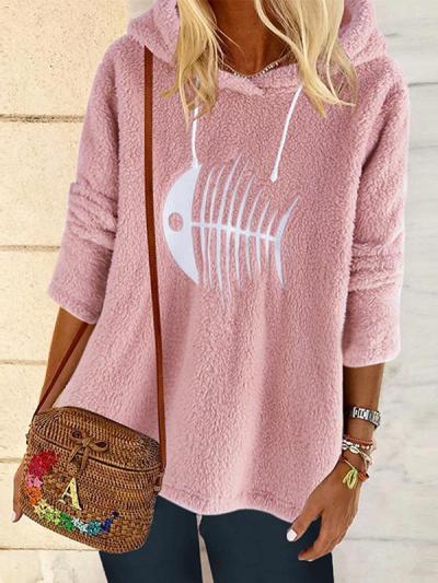 Women printed long sleeve hoodied