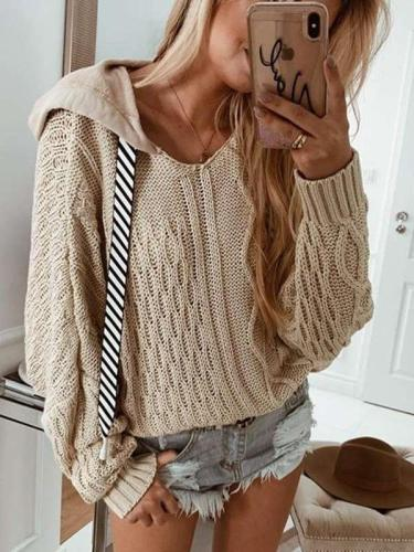 Casual Loose Knit Pure Hoodies Sweatshirts