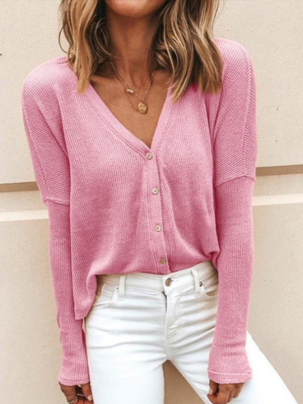 V-neck long sleeve loose button cardigan sweaters