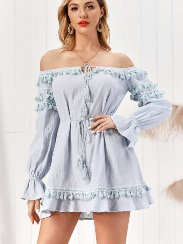 Pure Purl Long sleeve Off shoulder Laing Shift Dresses