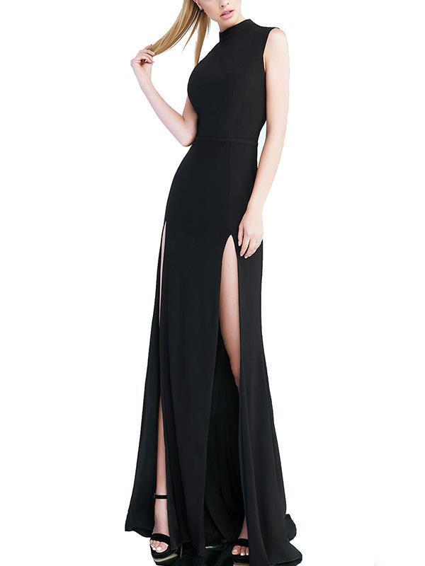 Elegant stand collar sleeveless long evening dresses