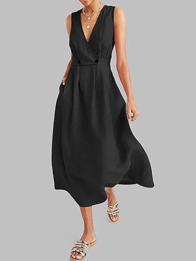 Women deep v neck sleeveless big hem maxi dresses