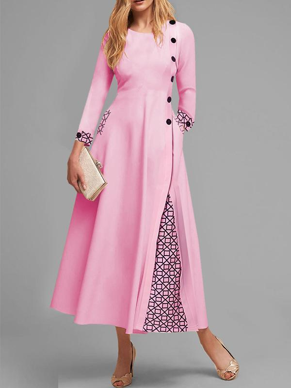 Round Neck Long Sleeve Date Printed Maxi Dress