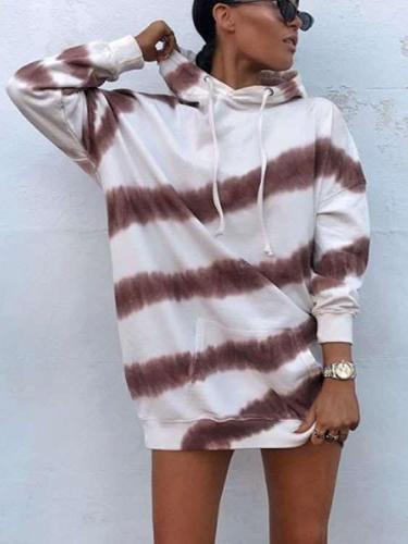 Fashion Loose Casual Stripe Hoodies Sweatshirts