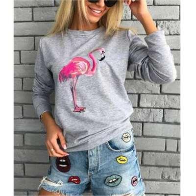 Fashion Flamingo print Round neck Sweatshirts
