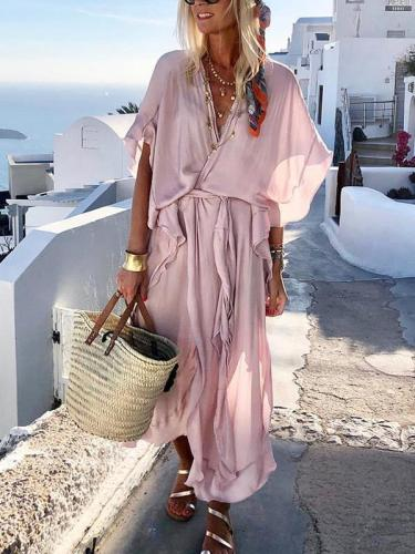 Chiffon Plain wasit tie women maxi dresses