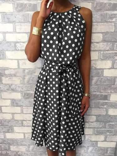 Polka Dots Printed Halter Sleeveless Casual Skater Dresses