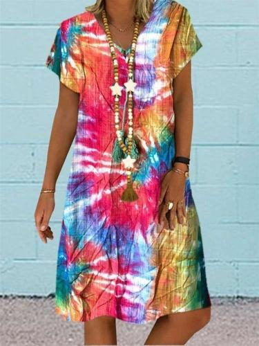 Casual Loose Print V neck Short sleeve Shift Dresses