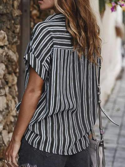 Loose Striped short sleeve  blouses tops