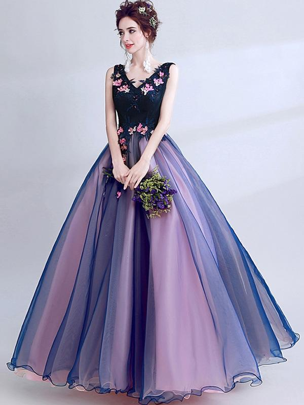 Embroidery Lace Contrast Deep V Neck Mesh Stereo Flowers Evening Dresses