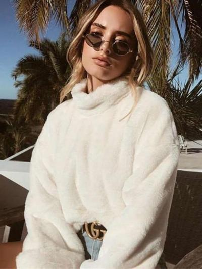 Winter Loose Warm Fleece Womens Pullover Sweatshirts
