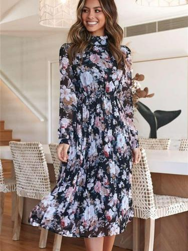 Fashion Print Long sleeve High collar Skater Dresses