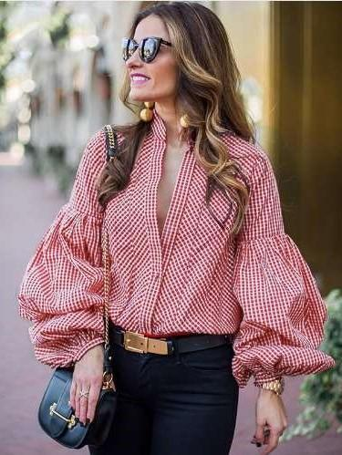 Fashion V neck Plaid Puff sleeve Blouses