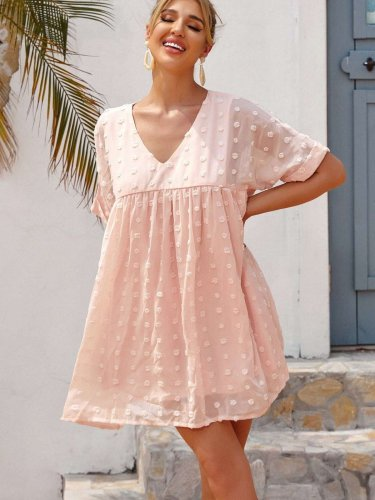 Casual Loose V neck Short sleeve Gored Shift Dresses