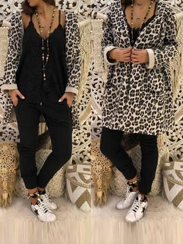 Fashion Leopard Print Hooded Woman Coats