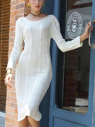 Fashion Pure Knit Long sleeve Tee Maxi Dresses