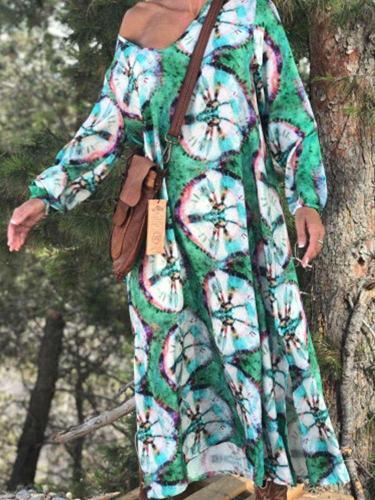 Loose Plus Print V neck Long sleeve Maxi Dresses