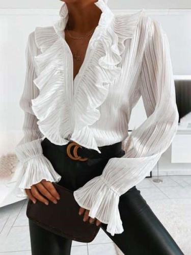 Fashion Sexy Falbala V neck Long sleeve Blouses