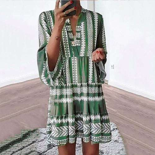 Casual Print V neck Long sleeve Gored Shift Dresses