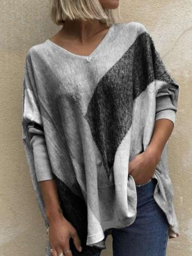 Fashion Casual Loose Stripe Gored V neck Long sleeve T-Shirts