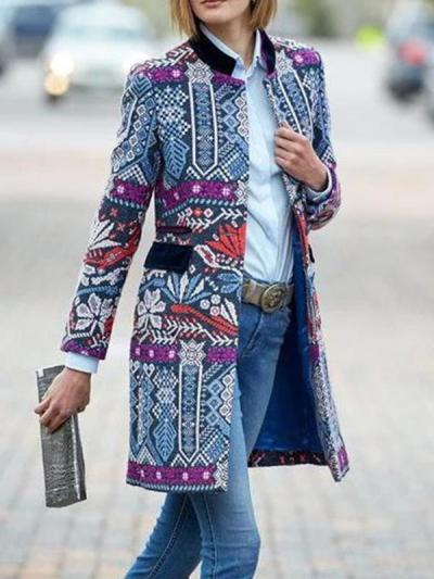 Fashion bohemia printed long sleeve coats