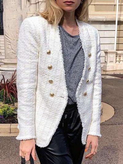 Fashion V neck Pure  Double-breasted Blazer
