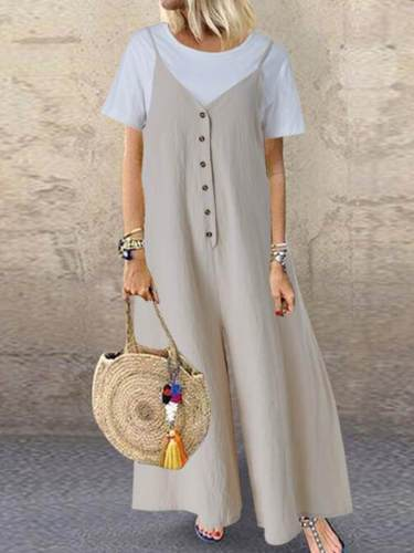 Loose button sleeveless long jumpsuits