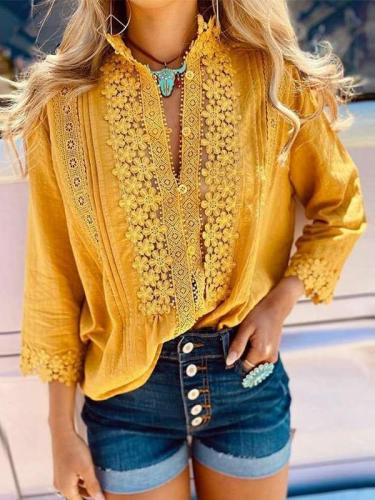 Fashion Pure Lapel Lace Hollow out Long sleeve Blouses