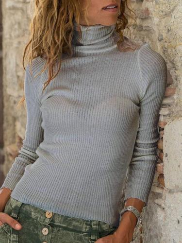 High neck women daily long sleeve knit sweaters