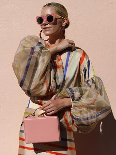 Rainbow stripe two-piece dress long sleeves round collar maxi dresses