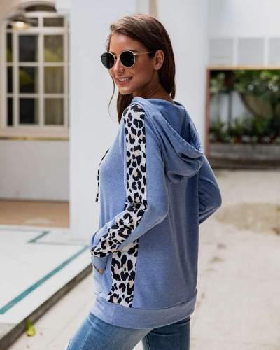 Sexy Leopard print Gored Pocket Hoodies Sweatshirts