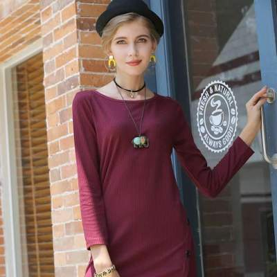 Pure Knit Long sleeve Round neck Shift Dresses
