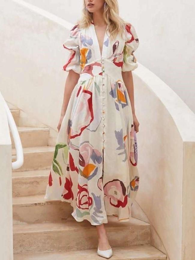 Casual Print V neck Puff sleeve Fastener Maxi Dresses