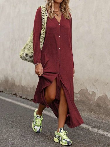 Fashion Loose V neck Long sleeve Pure Blouse Maxi Dresses