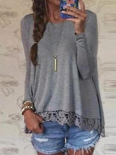 Crew Neck Long Sleeve Lace Crochet Casual Loose Tops Shirt