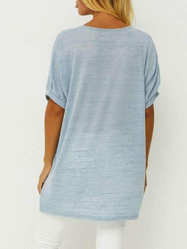 Casual Loose Print V neck Short sleeve Pocket T-Shirts