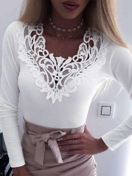 Pure Hollow out Lace Short sleeve T-Shirts