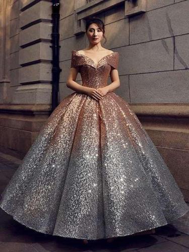 Off shoulder Paillette Gradient Bubble Evening Dresses