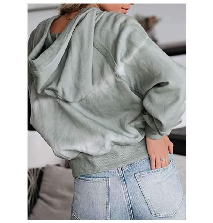 Casual Loose Stripe V neck Long sleeve Hoodies Sweatshirts