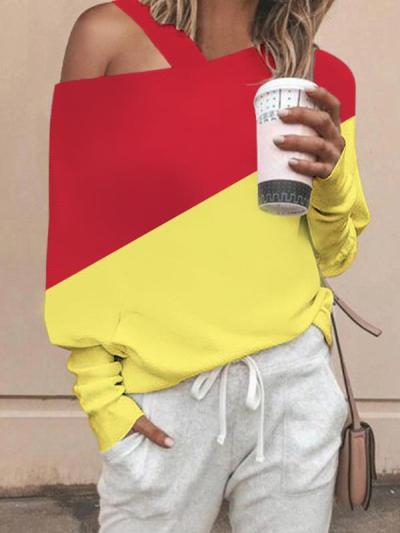 One off shoulder long sleeve knit sweater