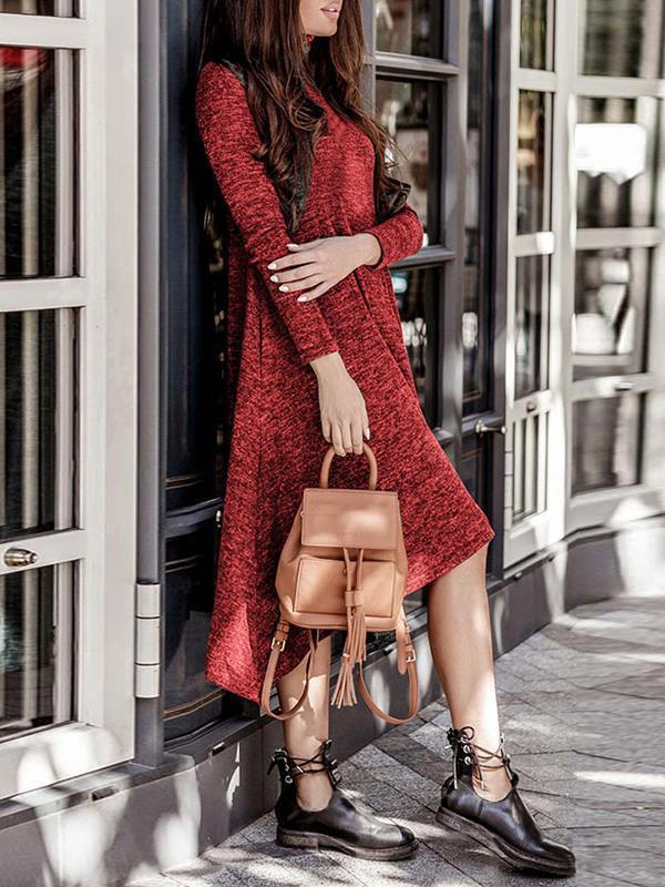 Plain High neck long sleeve Shift Dresses