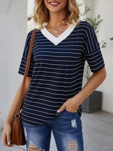 V-neck striped casual T-shirts tops